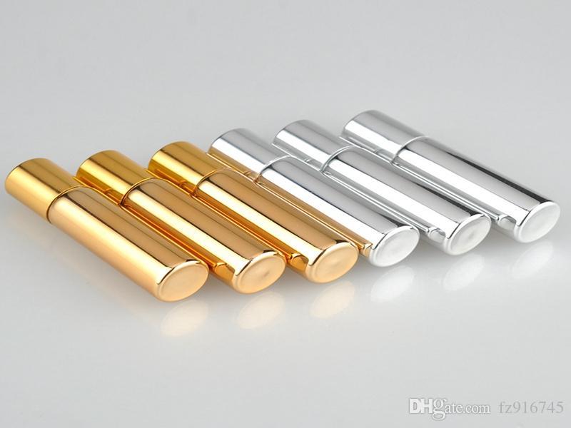 100 pz / lotto 5 ML UV Vuoto di Vetro Riutilizzabile Bottiglia di Profumo Con Metal Ball rotolo su bottiglie di profumo Bottiglie Essenziali di colore argento oro