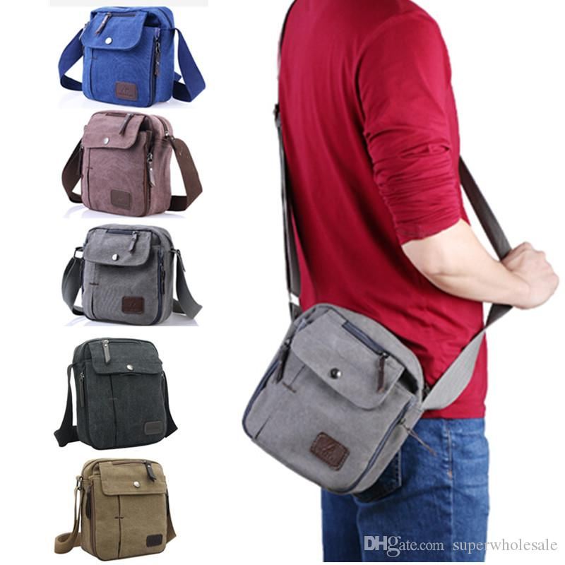 d5bc93541468 Men's Canvas Small Messenger Bag Casual Shoulder Bag Travel Organizer Bag  Multi-pocket Purse Handbag Crossbody Bags