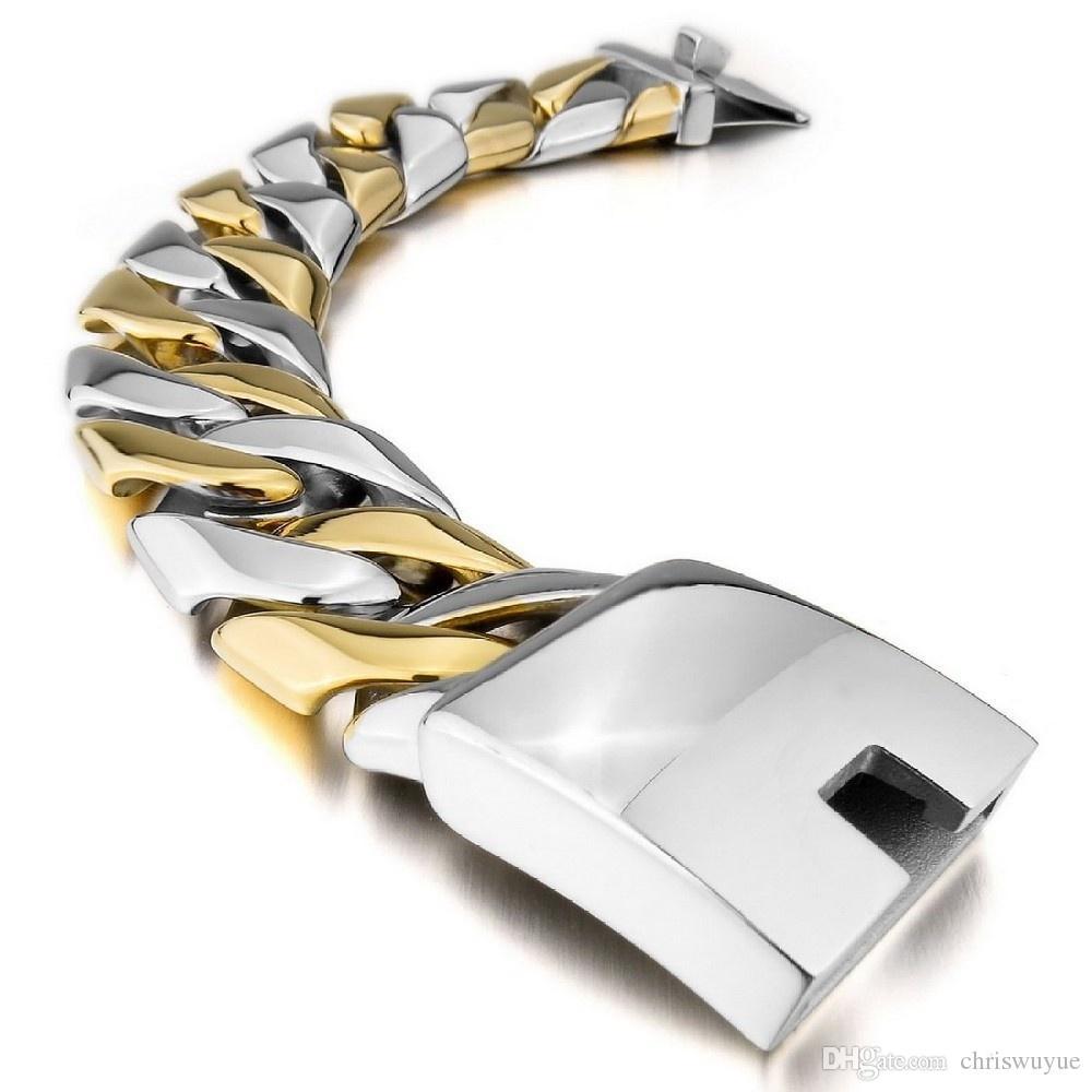 Braccialetto lucido degli uomini dei braccialetti degli uomini dell'acciaio inossidabile lucido lucido punk 20MM largamente grandi braccialetti della catena Braccialetti Accessori dei monili Braccialetto