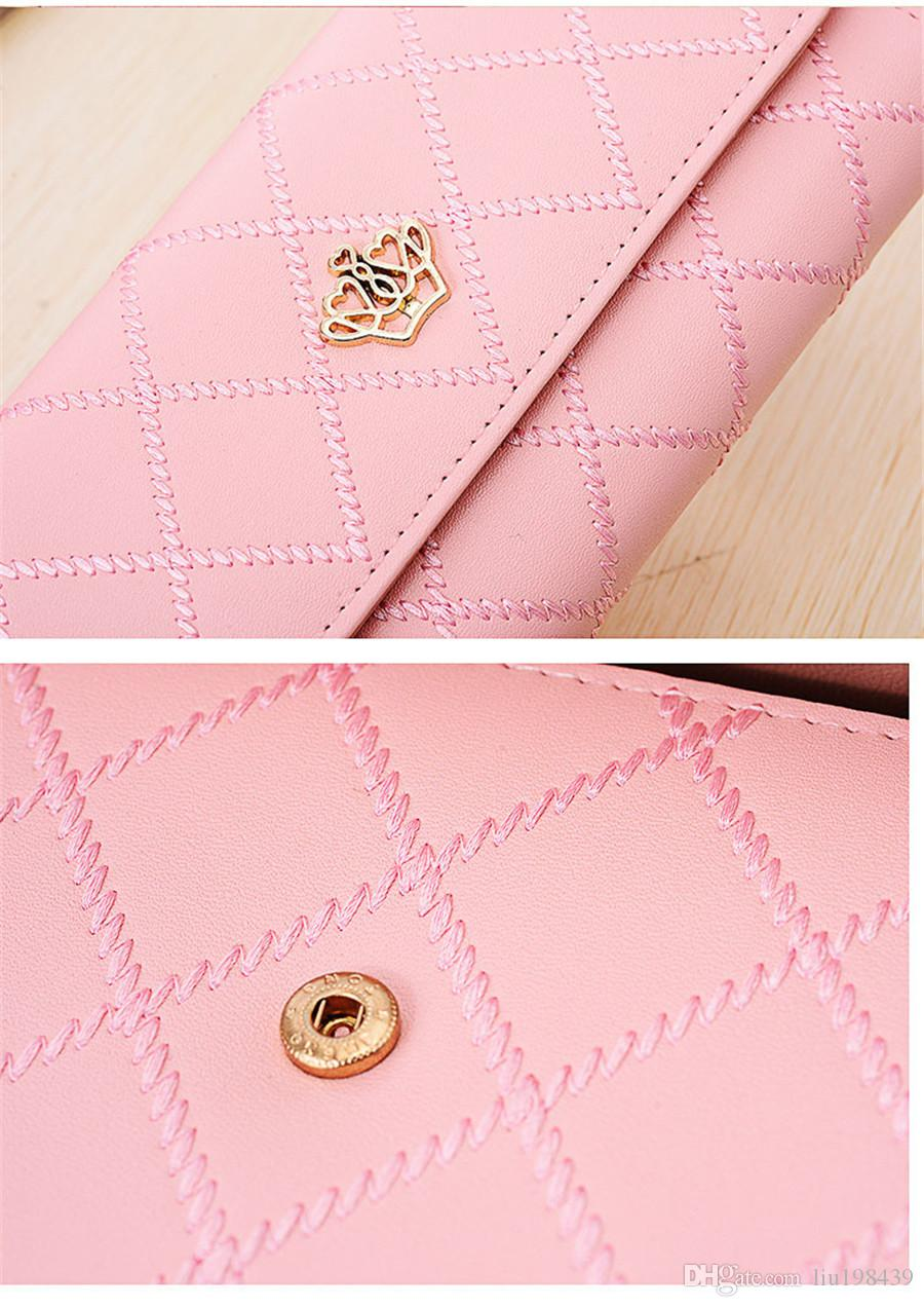 Long section of three copies of the Korean version of the buckle Lingge love crown wallet female wallet