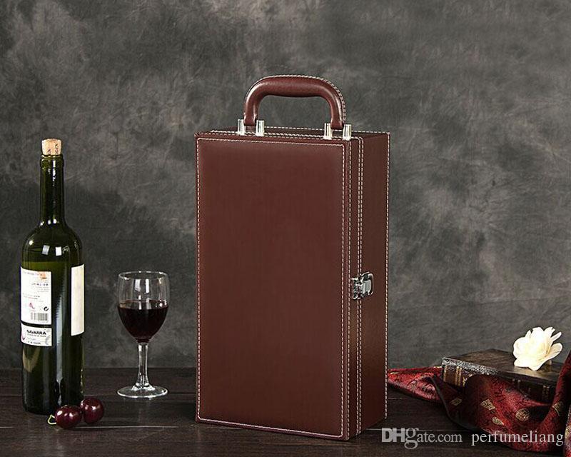 Luxus-Rotwein-Geschenk-Kortex der Wein-Kasten-einfachen schwarzen rotbraunen doppelten verzweigten Leder-Tasche Vinho, das Geschenke ZA3267 verpackt