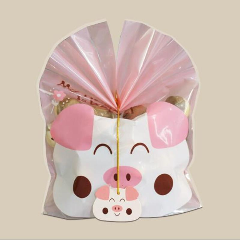 Cartoon Cookie Bag Top Open Bags Gift Packaging Cookie Candy Favor Bags Bakery Gift Packging Bags Party Supplies With Tags