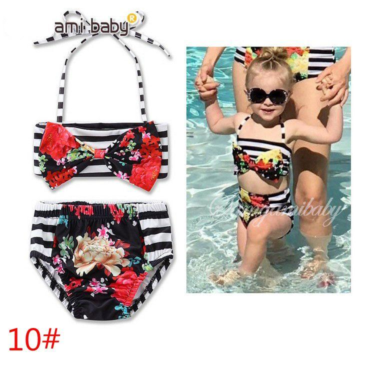 Cute Baby Bikini Big Bowknot Stripe Skirt Swimwear Sets INS hot sell baby girls bath 11 styles factory price girl's beachwear