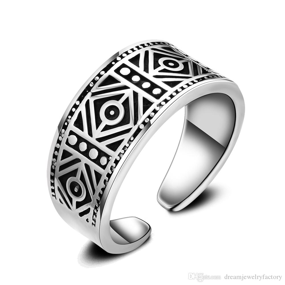 Retro Mens 925 Silver Rings Smooth Antique Effect Mens Rings ...
