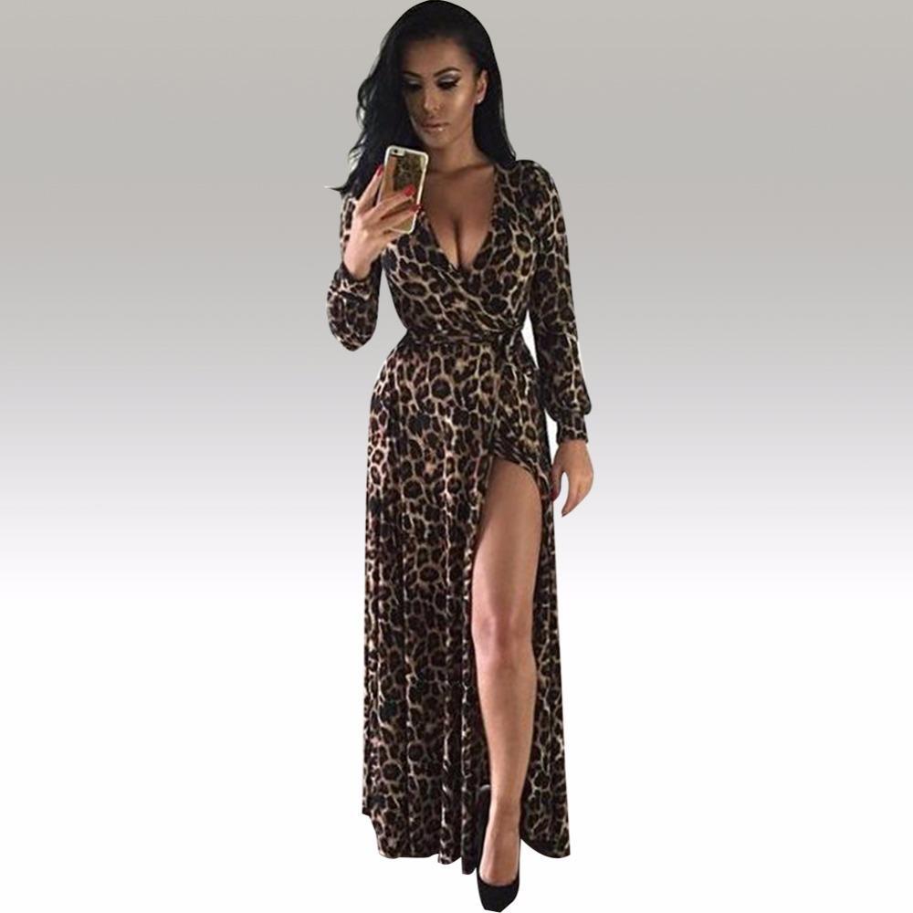 d8357eddd579 X201710 Womens Sexy Deep V Neck Low Cut Slit Leopard Print Casual Prom  Party Long Dress Long Sleeve Elegant Evening Maxi Dress KF917 Evening  Dresses Summer ...
