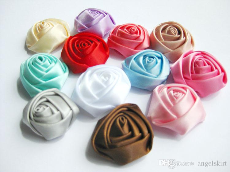/ 3CM Stain Rosette laminate 3D, Boutique bambini diy rosa satinata fiori le neonate Wedding / accessori capelli