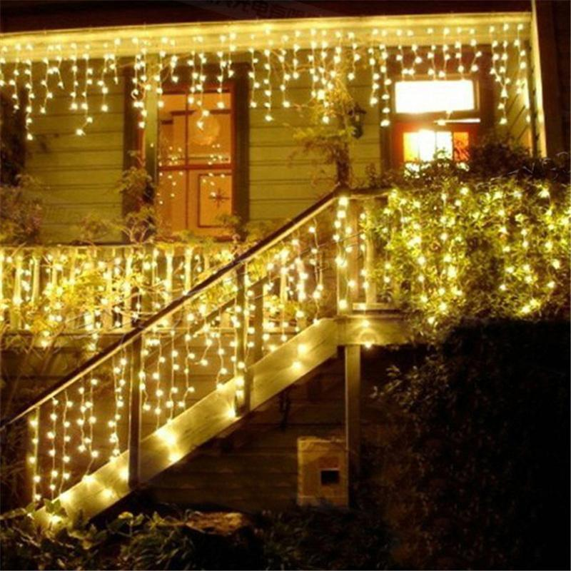 cheap wholesale led christmas lights outdoor decoration 4m 96leds icicle curtain window light fairy led string home wedding garland 220v110v string led - Led Christmas Lights On Sale