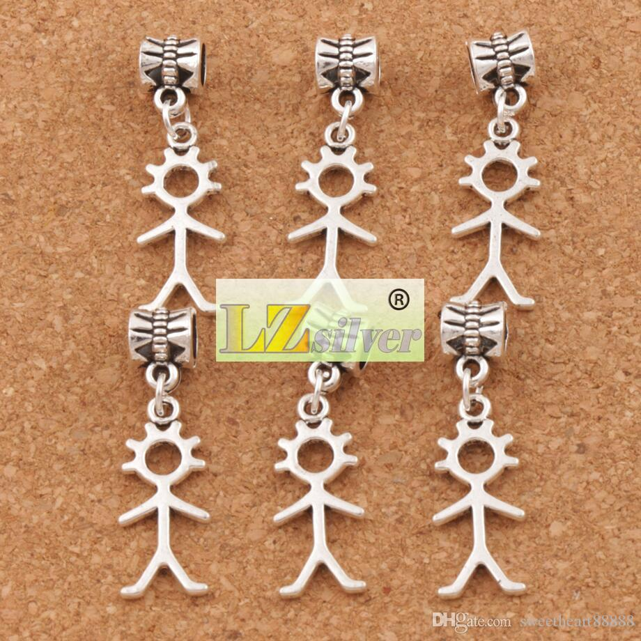 Stick Figure Boy Person Big Hole Beads Antique Silver Fit European Charm Bracelets Jewelry DIY B1146 34.4x10.4mm