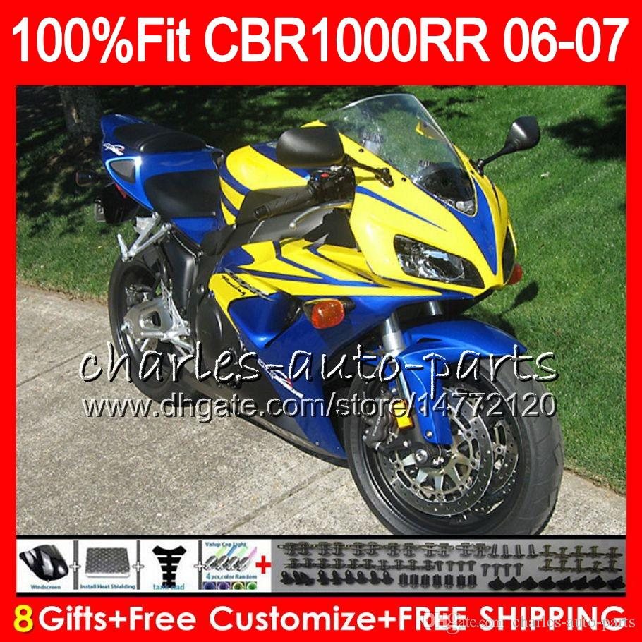 Injection Yellow blue Body For HONDA CBR 1000RR CBR1000 RR 06 07 Bodywork 78NO31 CBR1000RR 06 07 CBR 1000 RR 2006 2007 Fairing kit 100% Fit