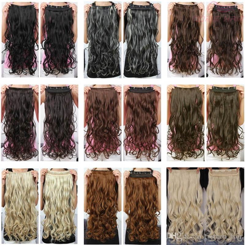 High Quality Long Clip In Hair Extensions 24inch 130g Synthetic Hair