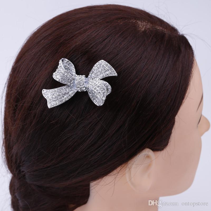 bowknot Silver Plated Bow Rhinestone Prong Alligator Barrette Hair Clip