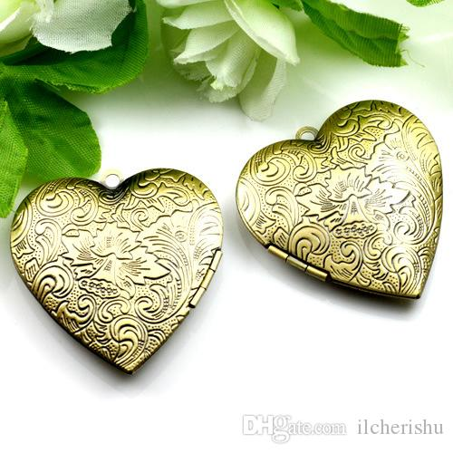 40*41*9MM Silver/antique bronze/rose gold/black gun handmade heart photo locket charm jewelry, fashion metal picture frame pendants wish box