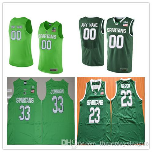 2018 Mens Michigan State Spartans College Basketball Custom #1 3 23 33 45  Green Stitched Personalized Any Name Any Number Jerseys S 3xl From ...