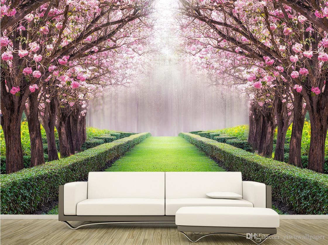 Luxury European Modern Beautiful Scenery Flowers And Trees Mural 3d