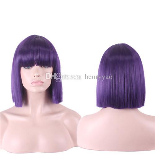 Pas cher courte perruque de Cosplay droite Bob perruque de cheveux de bande dessinée Full Side Bang multi colorée synthétique perruque de mode