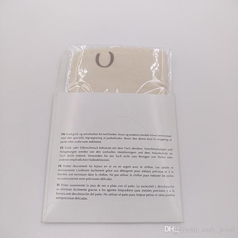 Otantik toptan 925 ayar gümüş parlatma bez fit pandora tarzı takı charms boncuk bilezikler temizleme 10x10 cm ambalaj hediye