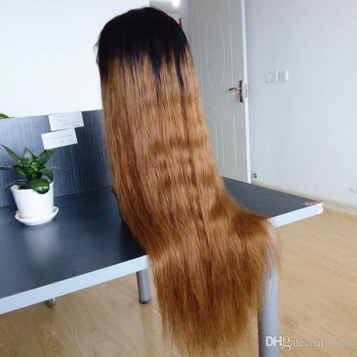 Envío gratis Ombre 1b / 30 # Color pelo humano brasileño peluca llena del cordón Sedoso recto dos tonos peluca del frente del cordón 130% de densidad