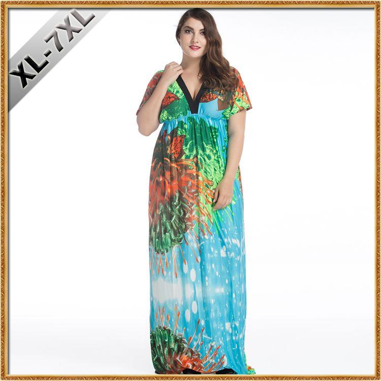 2017 Sumen Fat Women Double V Neck Plus Size Large Dress Loose
