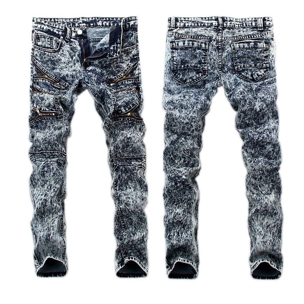 detailed look e3112 9df85 Wholesale-2016 Mens biker Jeans rock Mens Hip Hop Jeans Snow Wash Skinny  motorcycle Denim pants Men Elastic pencil pants Snow Wash