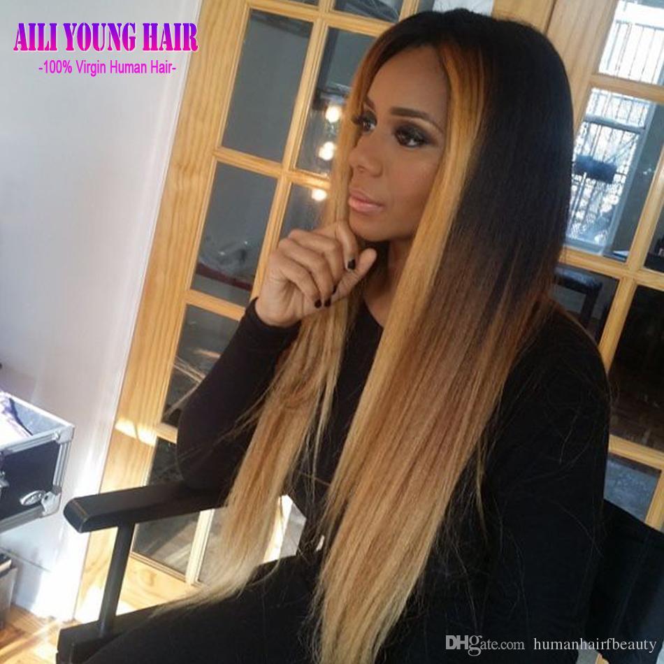 T # 1b / # 4 / # 27 Blonde Ombre Pleine Dentelle Perruques de Cheveux Humains Vierge Brésilienne Sans Colle Lace Front Perruques Pour Les Femmes Noires Ombre U Partie Perruque