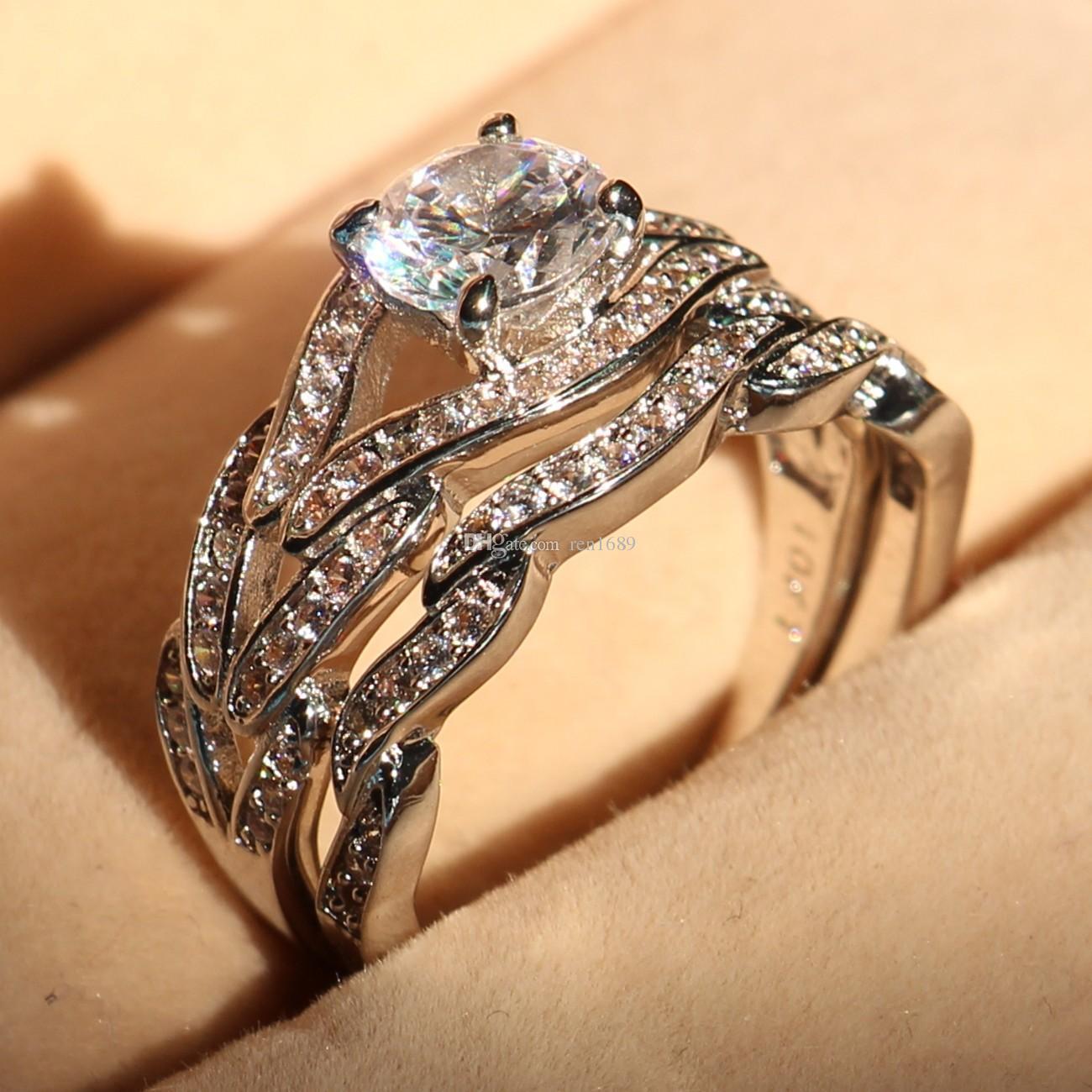 Feiner Schmuck Großhandel Echte 2ct Topaz Diamonique Cz 10KT Weißes Gold gefüllt Gf Simulierte Diamant-Verlobung Ehering Set
