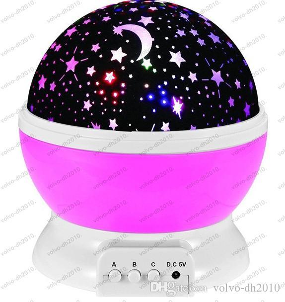 Romantische Zimmer Neuheit Nachtlicht Projektorlampe Rotary Flashing Sternenhimmel Mond Himmel Sterne Projektor Kinder Kinder Baby LLFA