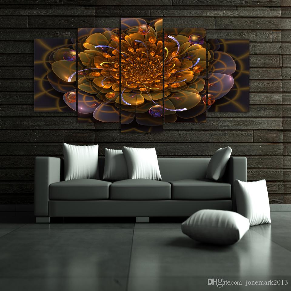 Framed HD Printed Colorful lotu flowers picture Painting wall art room decor print poster picture canvas /ny-661
