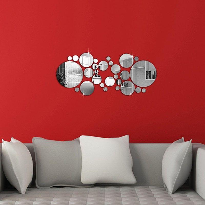 Circle Wall Mirrors 2017 hot sale cute silver diy circle mirror wall stickers home