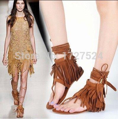Ankle Strap Fringe Tassel Flat Sandals Lace Up Gladiator
