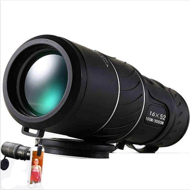 Black HD Compact Monocular Zoom 16x52 Zoom Telescope Binoculars high-power high-definition Adjustable Daytime good for gift