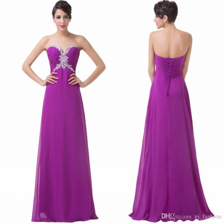 Grace Karin 2017 Elegant Purple Chiffon Bridesmaid Dresses Lace Up ...
