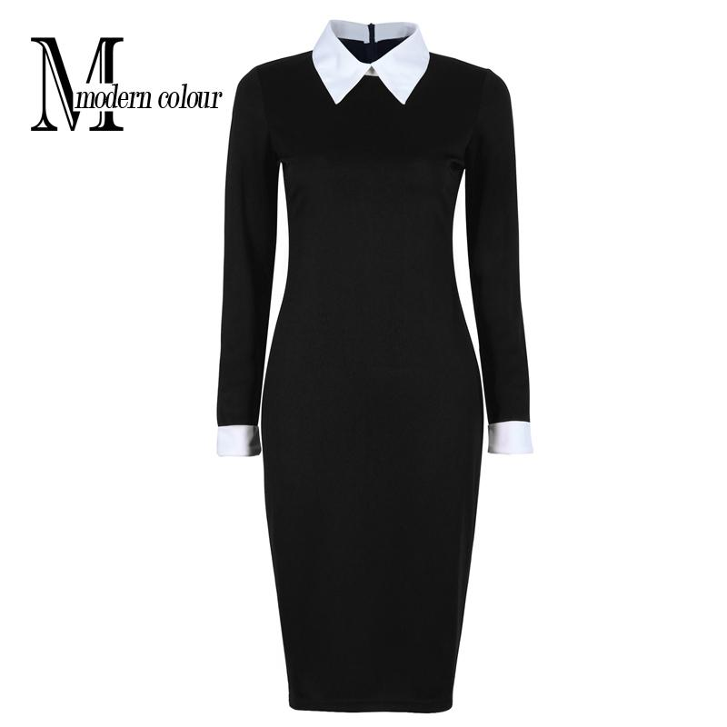 942f3d81272 2019 Wholesale Black Office Dresses Women 2017 Spring New Arrivals Fashion  Long Sleeve Pencil Dress Ladies Casual Work Dress With White Collar From ...