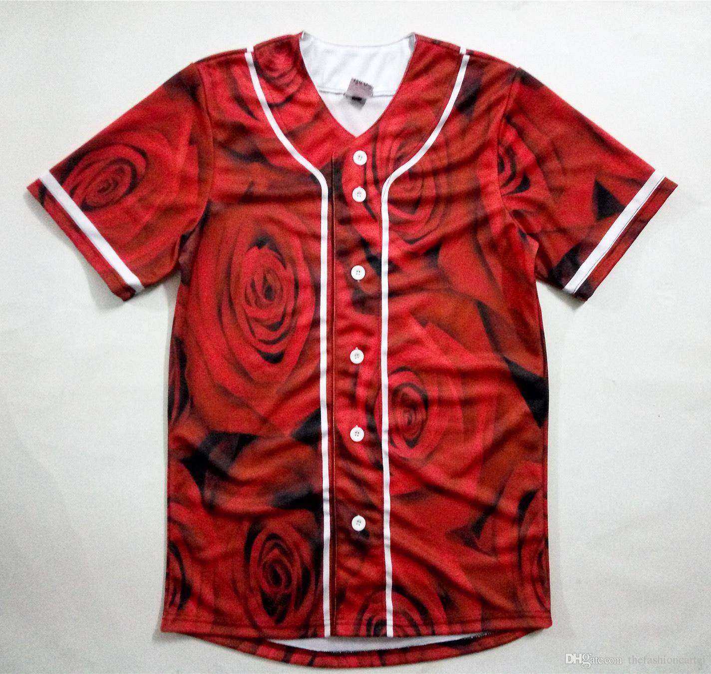 Compre Tamaño Real De Los EE. UU. Camisa De Béisbol Con Estampado  Sublimaiton 3D De Rosas Rojas Más Tamaño A  24.22 Del Thefashioncartel  b675ca2ae91fc