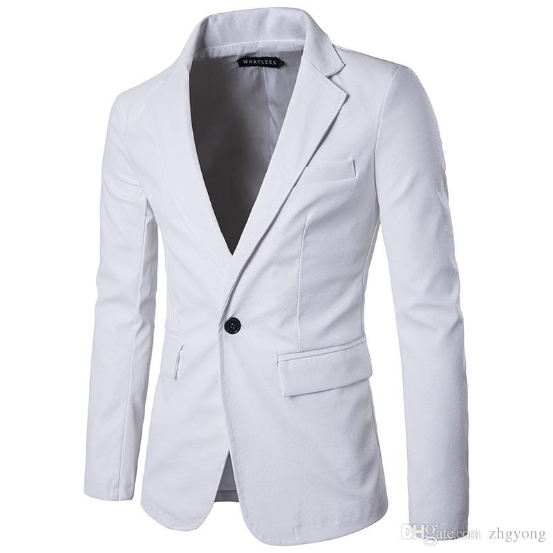 17254e0658b Male casual Jackets Pu Leather Jacket fashion slim Blazer outerwear men s  red white black khaki color coat clothing for singer dancer show