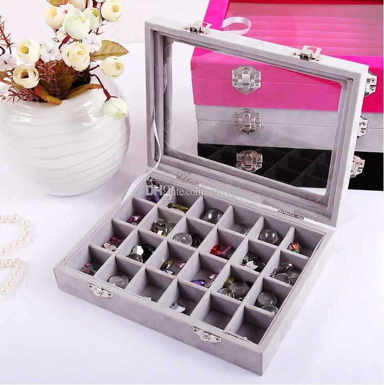Ornamenti 24-cell all'ingrosso con orecchini display cover box, scatola di immagazzinaggio di gioielli di fascia alta, orecchini gioielli ciondolo gioielli in argento