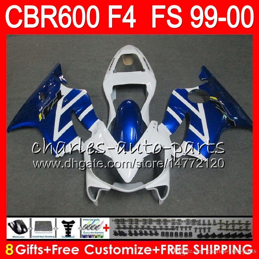 8Gifts Carrozzeria HONDA CBR600 F4 1999 2000 CBR 600F4 30NO41 CBR600F4 99 00 bianco blu CBR 600 F4 99-00 CBR600FS Kit carena FS