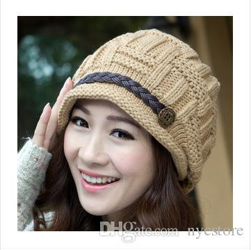 8857e22ee3e Wholesale Lady Caps Acrylic Bennie Headwear Hats With Leather Belt Strap  Hot Selling Fashionable Women Winter Hats Baby Hat Crochet Baby Hats From  Nycstore