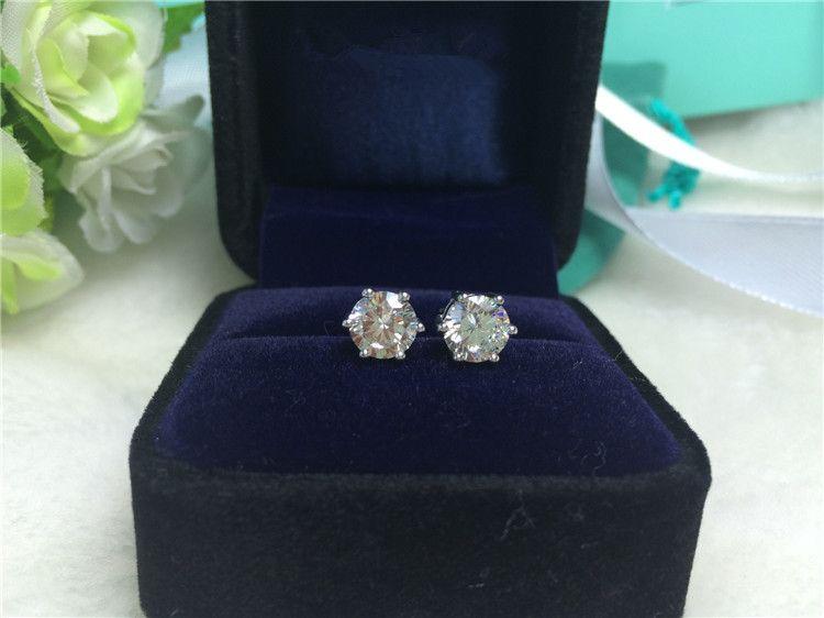 1CT / çifti Gümüş 18 K altın kaplama 6 prong küpe kadınlar için sentetik elmas saplama küpe sentetik elmas düğün küpe