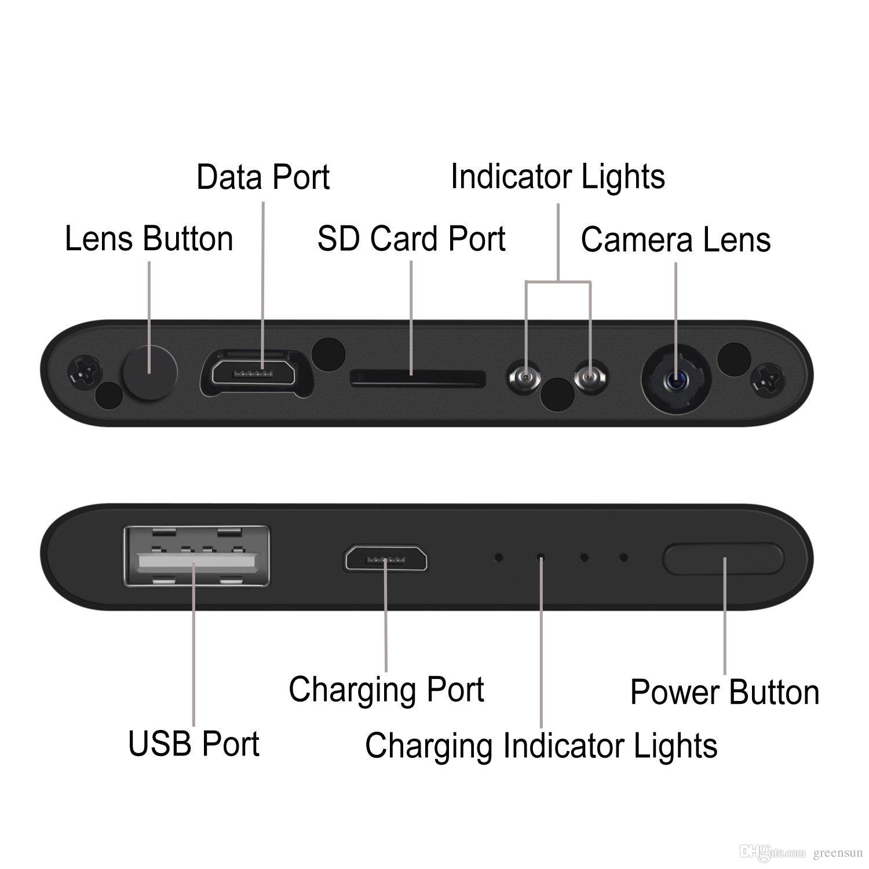 Kamera-Energie-Bank, HD 1080P Minikamera Video CCTV 1920 * 1080 Kamerarecorder Mini DV DVR