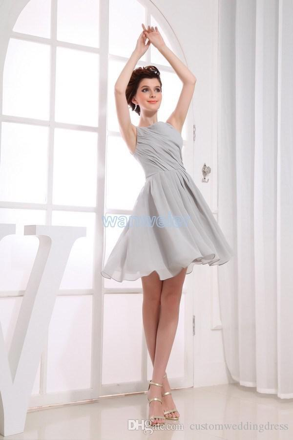 real picture 2018 new heigh neck chiffon sliver custom plus size short Bridesmaid Dresses
