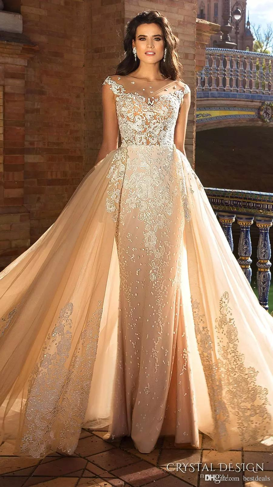 2017 Gorgeous Capped Sleeve Jewel Neck Heavily Embroidered Bodice Detachable Skirt Mermaid Wedding Dresses Low Back Long Train Bridal Gowns
