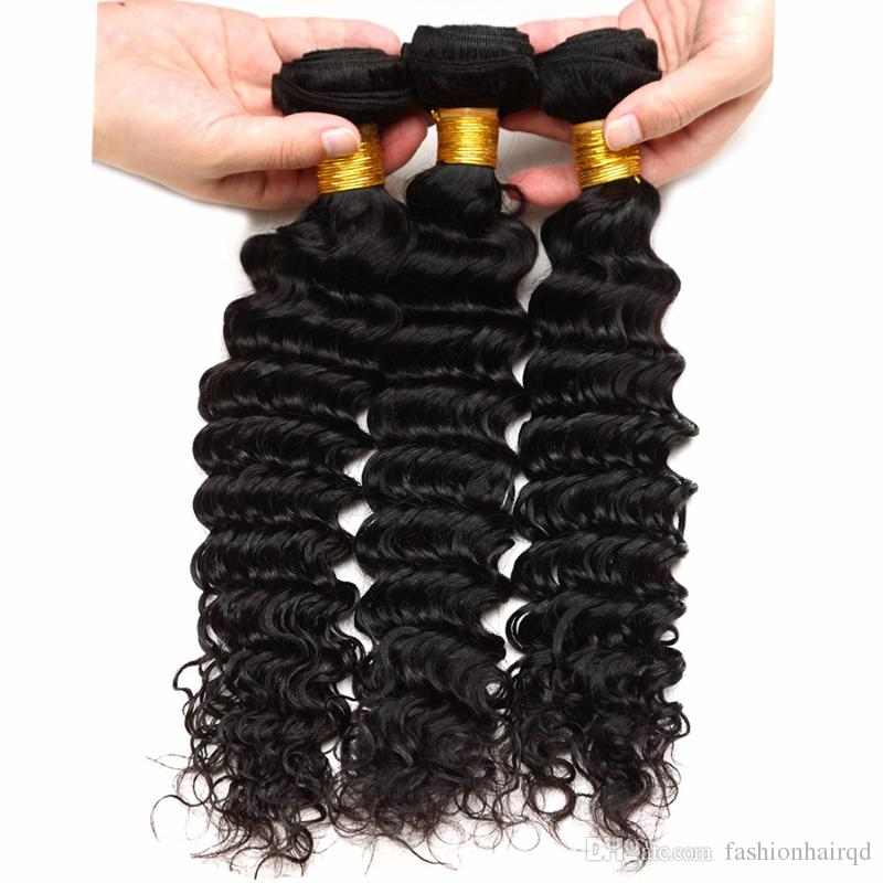 5 Bundles Unprocessed Brazilian Virgin Hair Bundles Cheap Human Hair Weaves Straight Body Deep Loose Wave Kinky Curly Double Weft Extensions