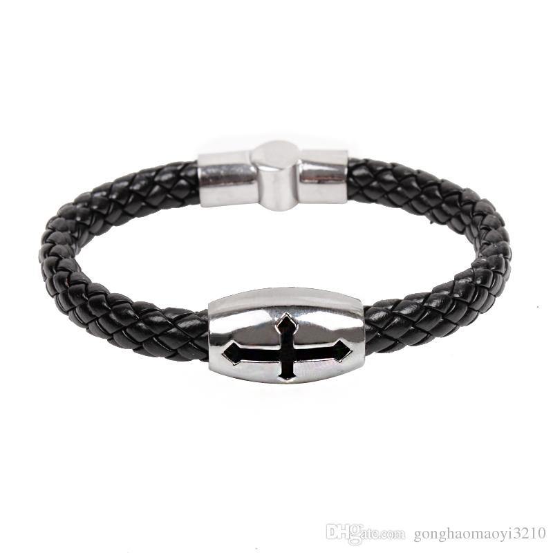 2017 New Unique Titanium Religious Cross Bracelets Christian Link Chain Stainless steel Wristbands JesusBracele Jewelry Pattern Free shippin