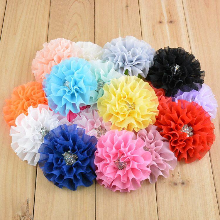 무료 배송 연습장 / 많은 한국어 고품질 3.56inch 석 쉬폰 머리 FLOWER 모란 꽃 DIY 드레스 헤어 액세서리 20 색 H077