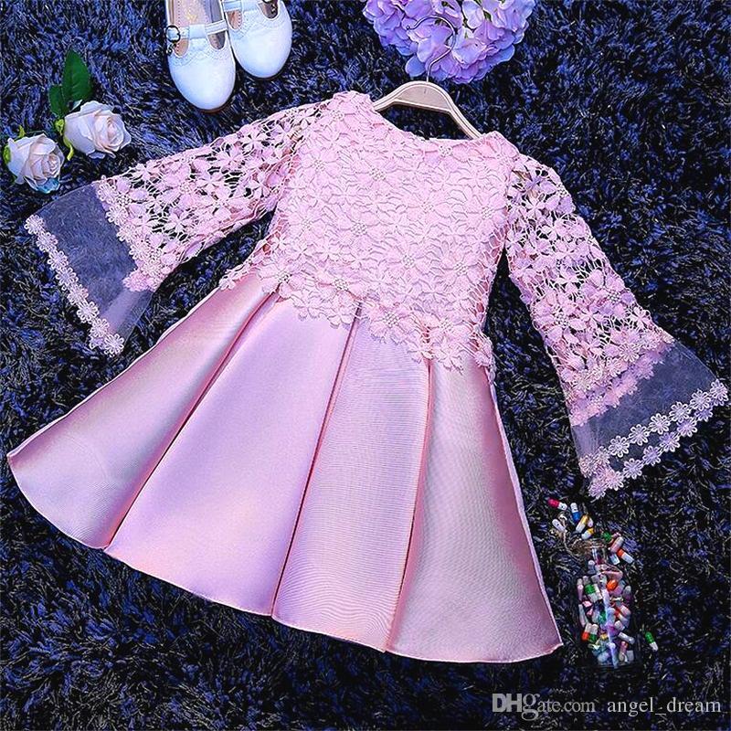 New Fashion Flower Girl Abiti con manica lunga la cerimonia nuziale Little Girls Kids / Child Dress 2017 Princess Party Pageant prima comunione Dress