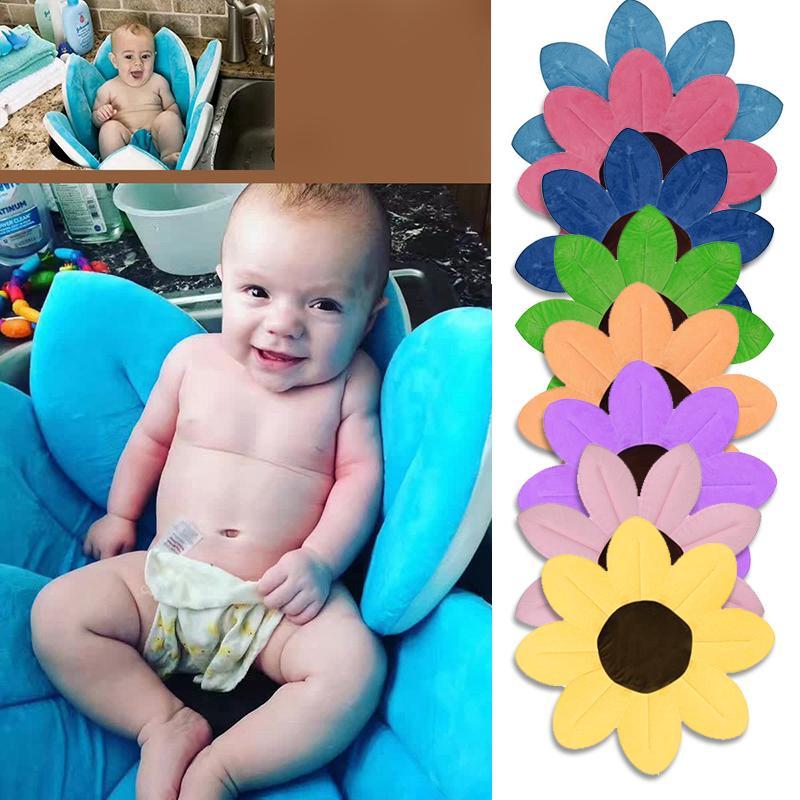 2018 Newborn Baby Bathtub Foldable Blooming Flower Shape Mat Soft ...