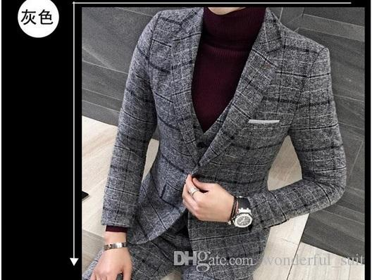 Suits Men British Latest Coat Pant Designs Royal Blue Mens Suit Autumn Winter Thick Slim Fit Plaid Wedding Dress Tuxedos