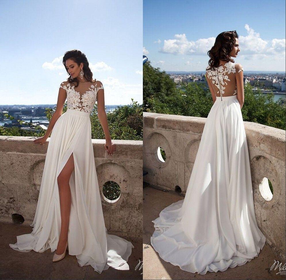 Discount 2019 Cheap Simple Beach Split Wedding Dresses