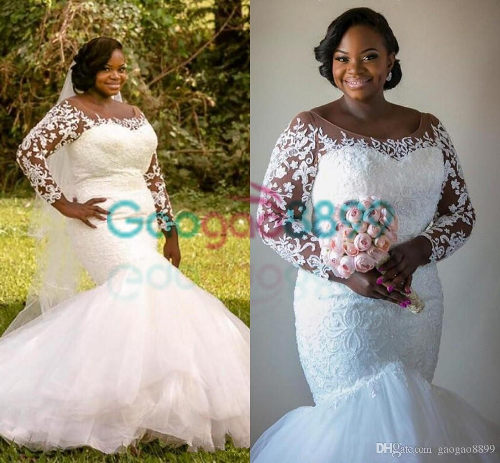 Sexy African Country Mermaid Wedding Dresses With Long Sleeve 2017 Plus Size Sheer Long Sleeve Lace Tulle Fishtail Bridal Dress Milla Nova