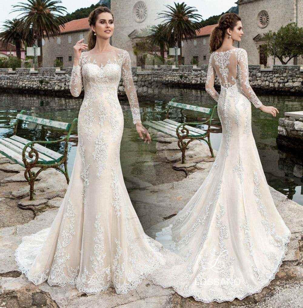 Discount Best Selling Elegant Long Wedding Dress 2017 Boat Neck Full ...